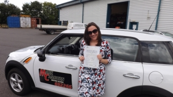 Well done Di on passing your driving test